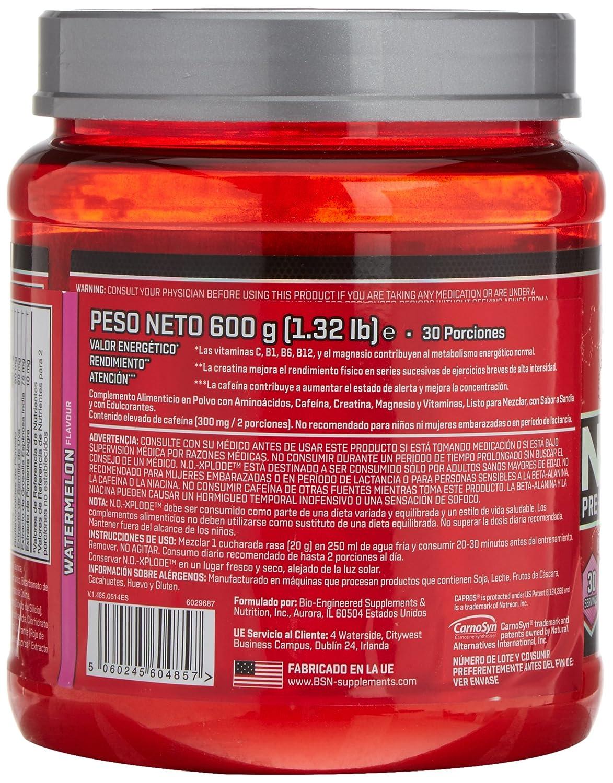 BSN No Xplode Pre-Entreno, Sandía - 600 g: Amazon.es: Salud y cuidado personal