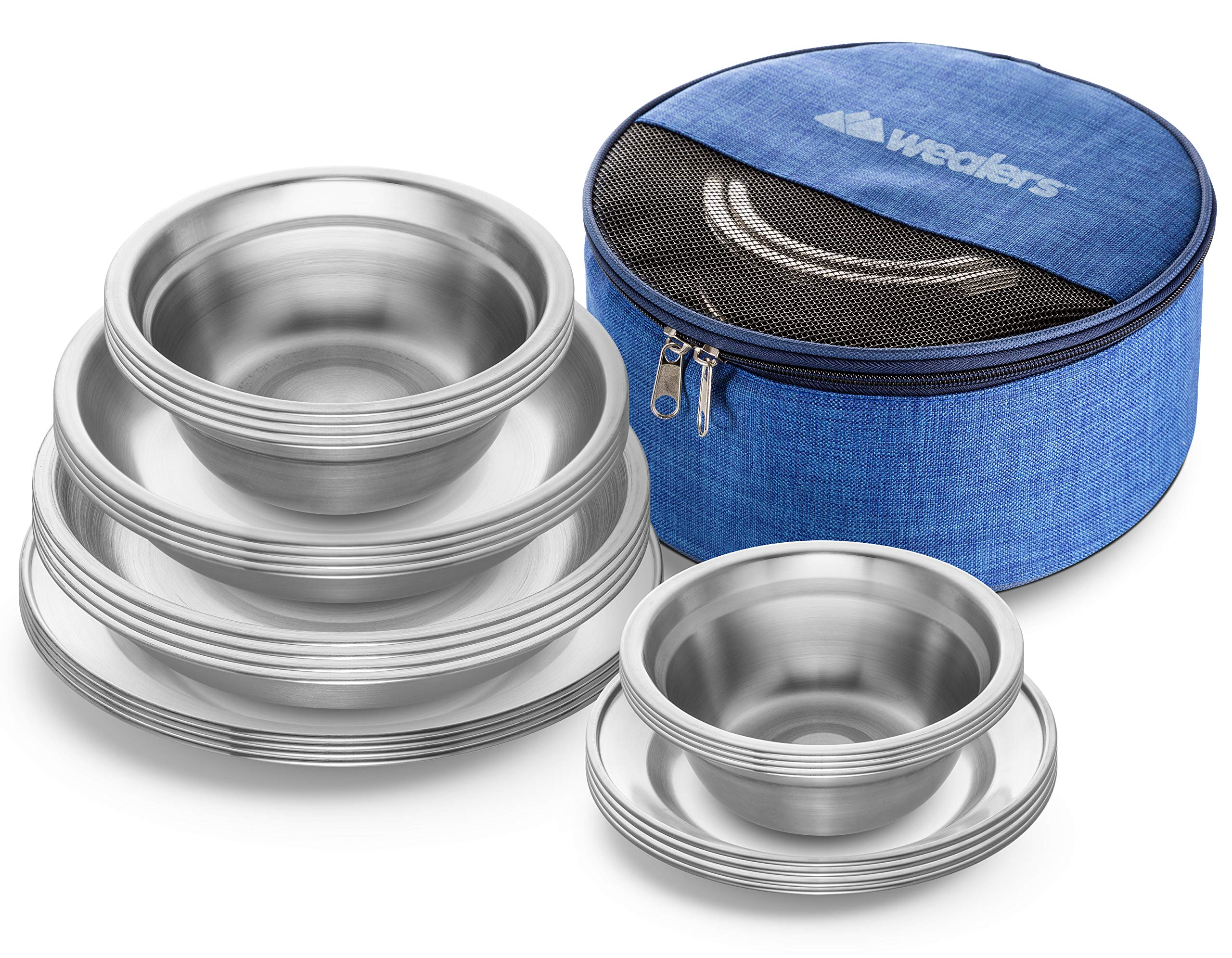 Wealers Stainless Steel Plates and Bowls Camping Set (24-Piece Kit) Small and Large Dinnerware for Kids, Adults, Family | Camping, Hiking, Beach, Outdoor Use | Incl. Travel Bag by Wealers
