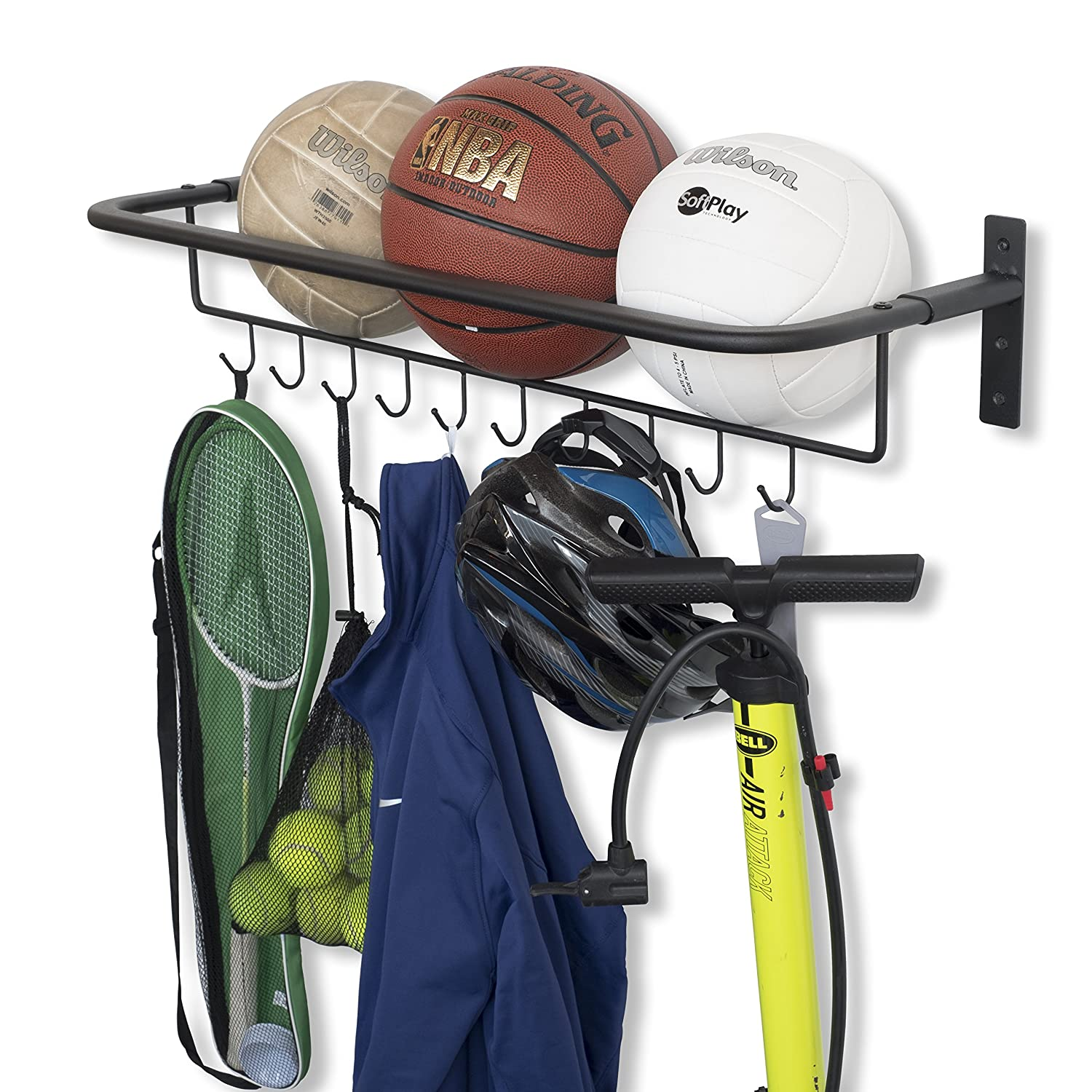 Wall Mount Metal Sports Ball and Gear Equipment Organizer Hanging Rack with Hooks in Black 32 Inch Long Brightmaison
