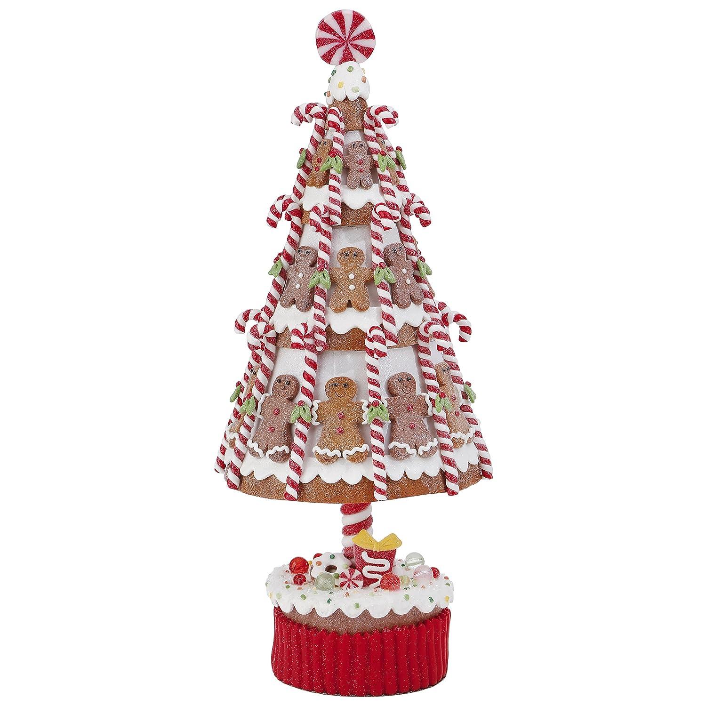 Gingerbread Christmas Tree.Claydough Gingerbread Christmas Tree With Candy Canes And Gingerbread Men 15 5 Inch
