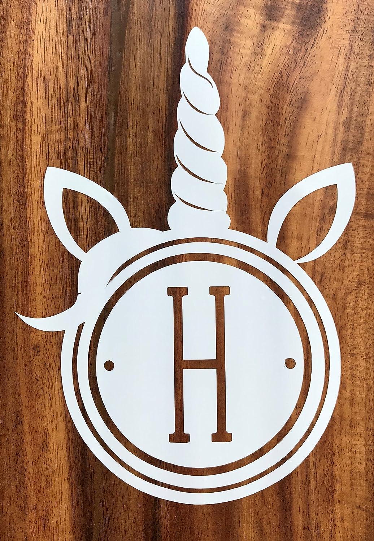 Amazon com custom initial monogram unicorn horn vinyl decal magical bumper sticker for tumblers laptops car windows circle horn dot design