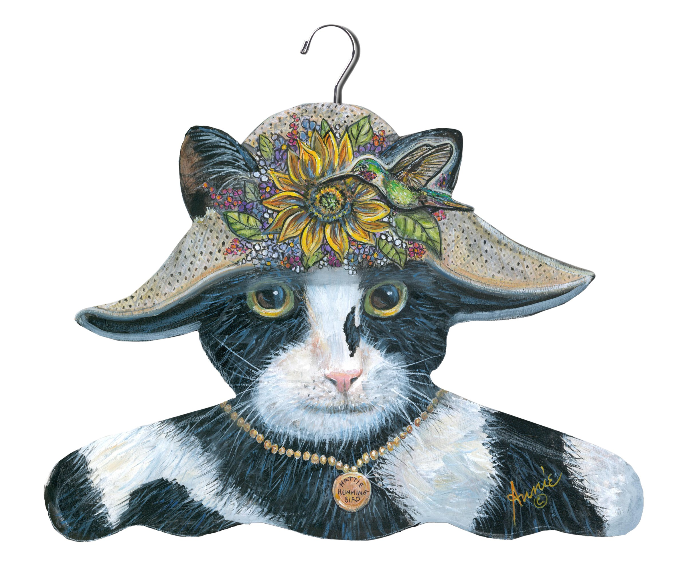 Stupell Home Décor Black And White Cat With Sunflower Hat Hanger, 17 x 0.4 x 11, Proudly Made in USA