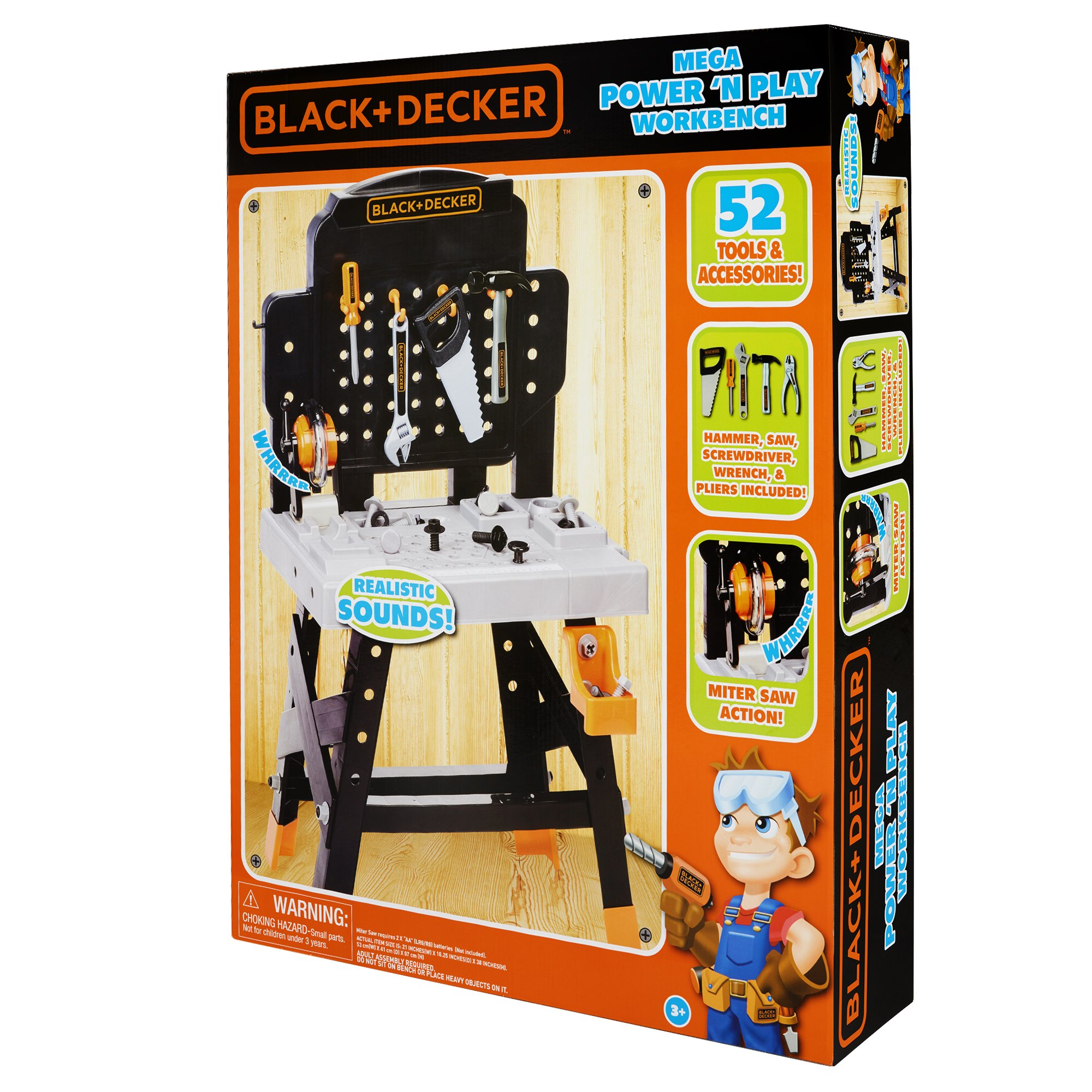 BLACK+DECKER 71382 Jr. Mega Power N' Play Workbench with Realistic Sounds! - 52 Tools & Accessories by BLACK+DECKER (Image #9)