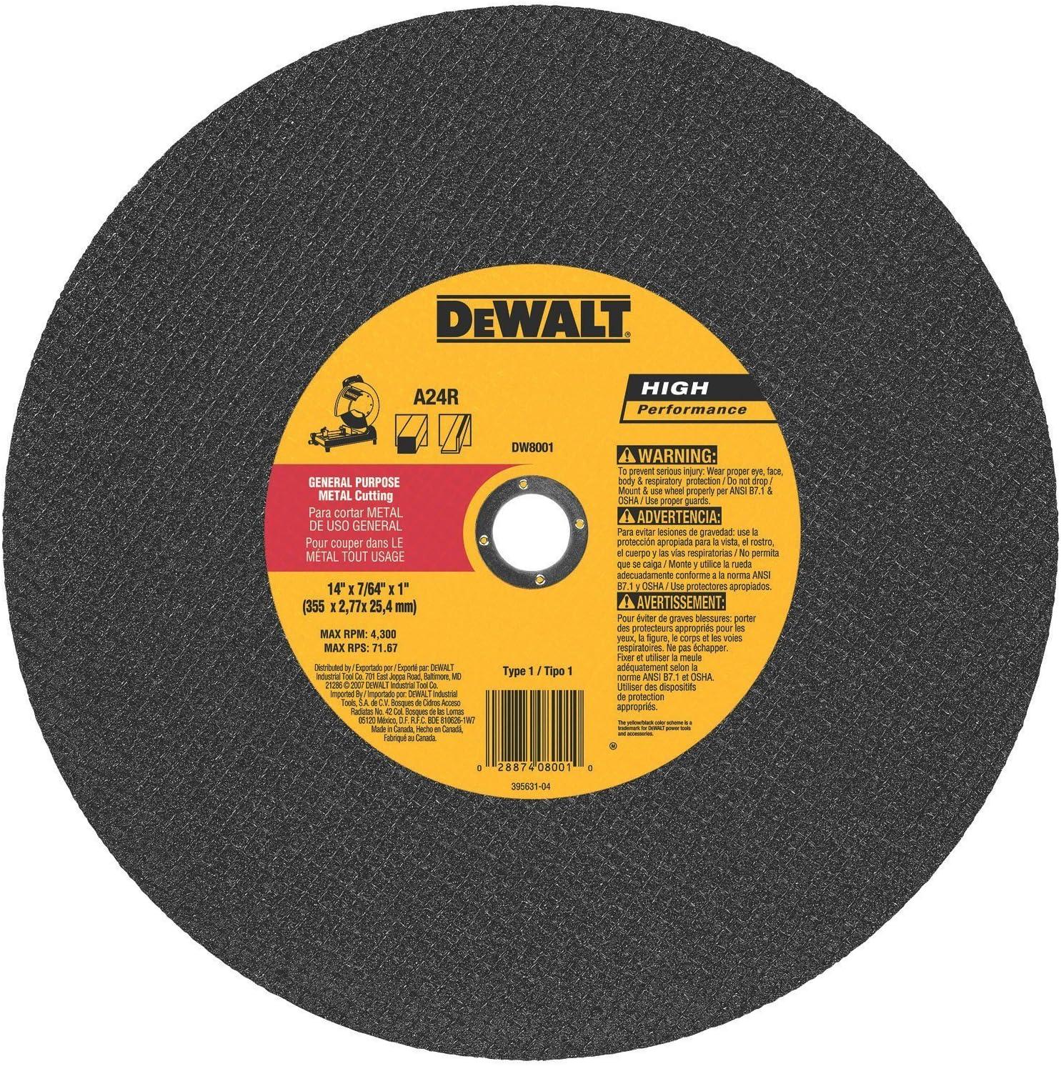 "10 Pack 10-Pack Dewalt Abrasive 14/"" Cut Off Wheel"