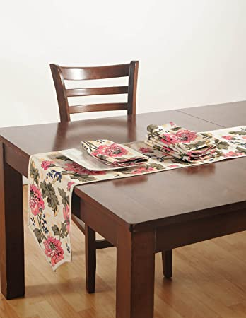 Cotton Duck Fabric Indian Table Linens Set With 4 Dinner Napkins And Table  Runner   Machine