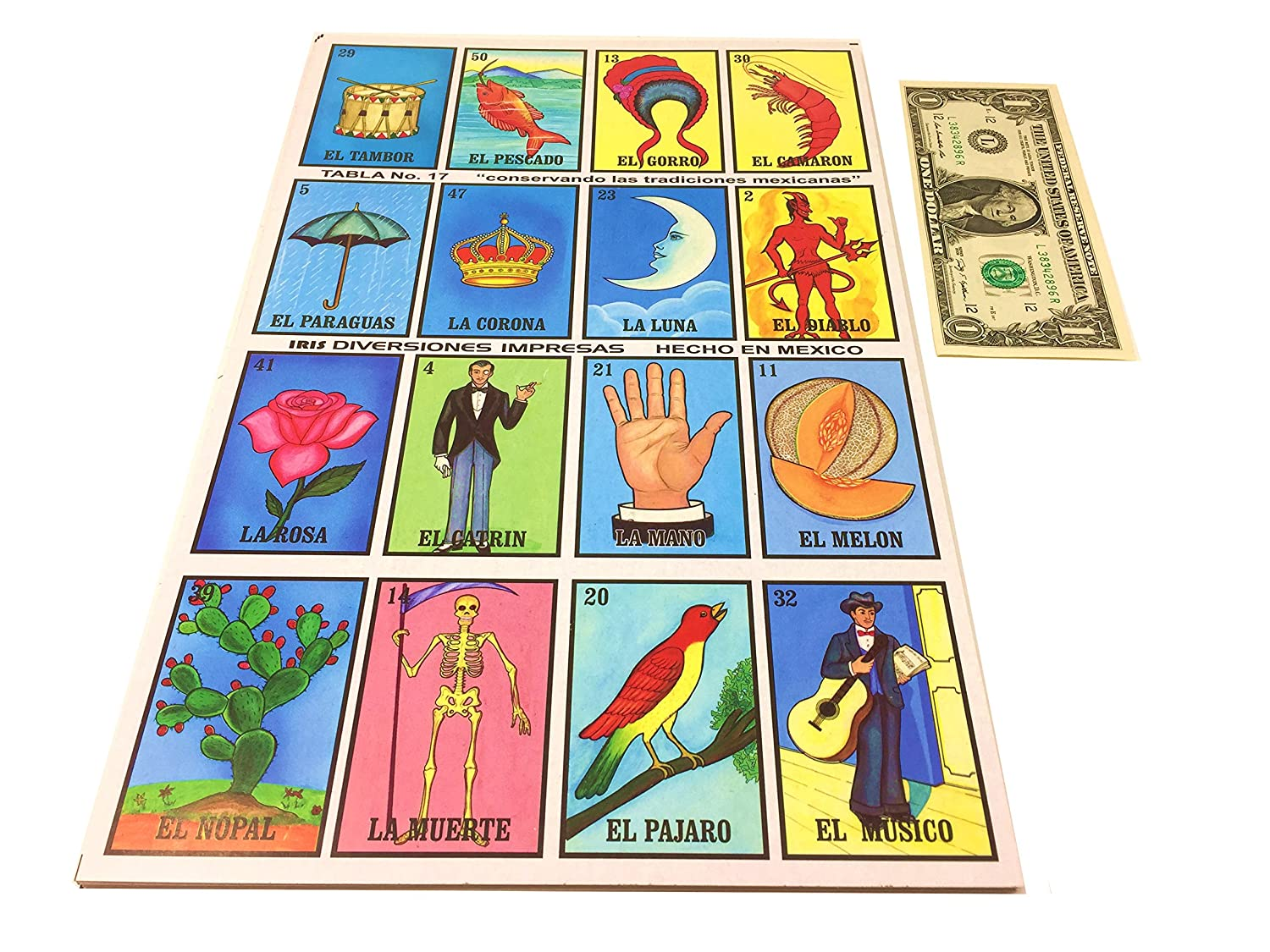 Amazon.com: Tio Chentes Mexican Bingo Loteria Family Board Game - Set of 20 Jumbo Boards and Deck of 54 Cards: Toys & Games