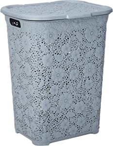 Superio Laundry Hamper with Lid Lace Design 50 Liter - Grey Laundry Hamper Basket With Cutout Handles, Rectangular Shape Modern Style Bin - Dirty Cloths Storage