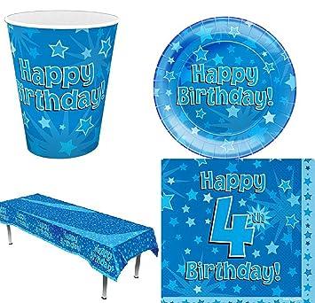 Birthday Happy Blue Stars - Fiesta de cumpleaños (16 Piezas, 1,2,
