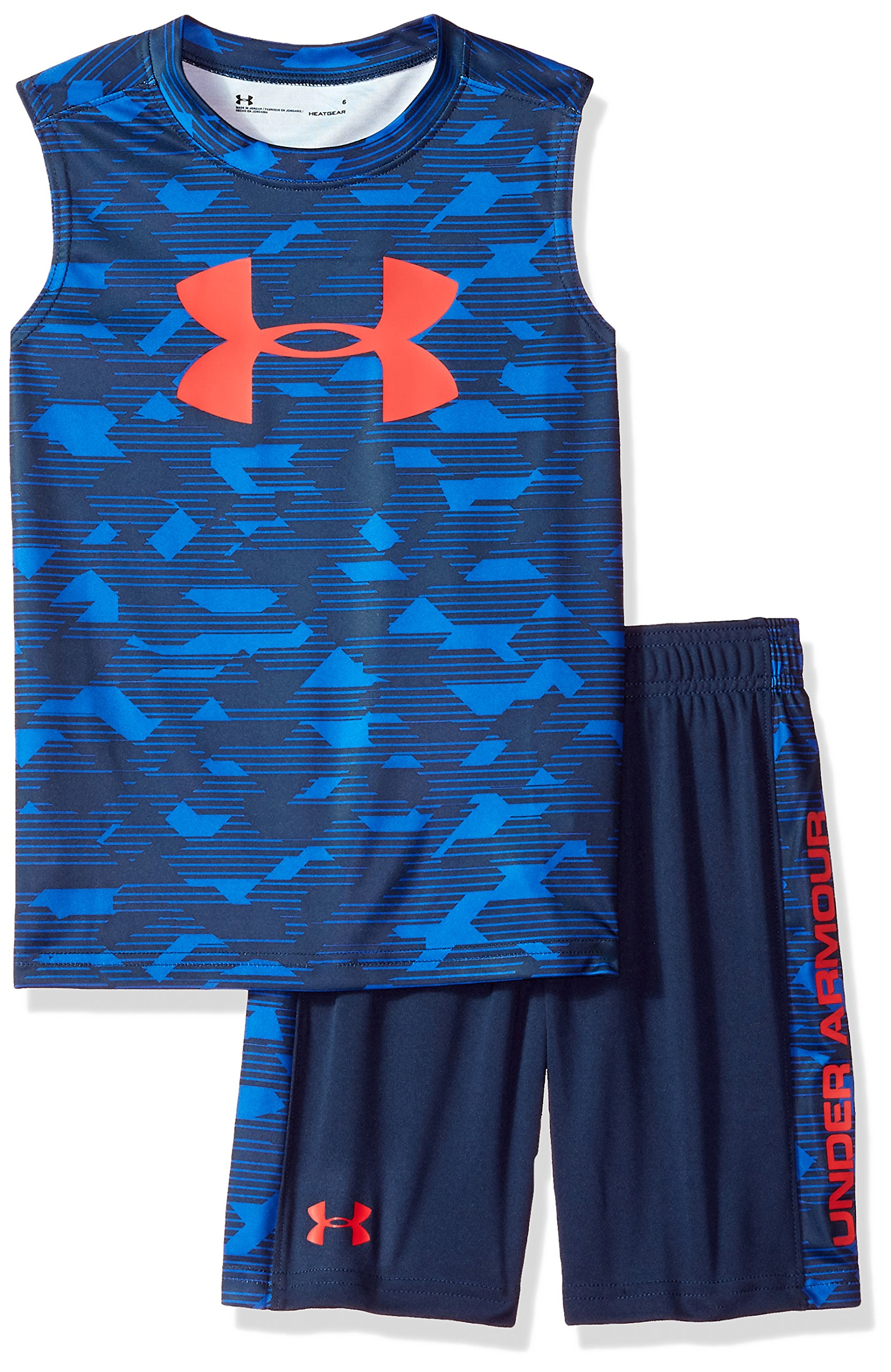 Under Armour Boys' Little UA Muscle Tank and Short Set, Blue, 7