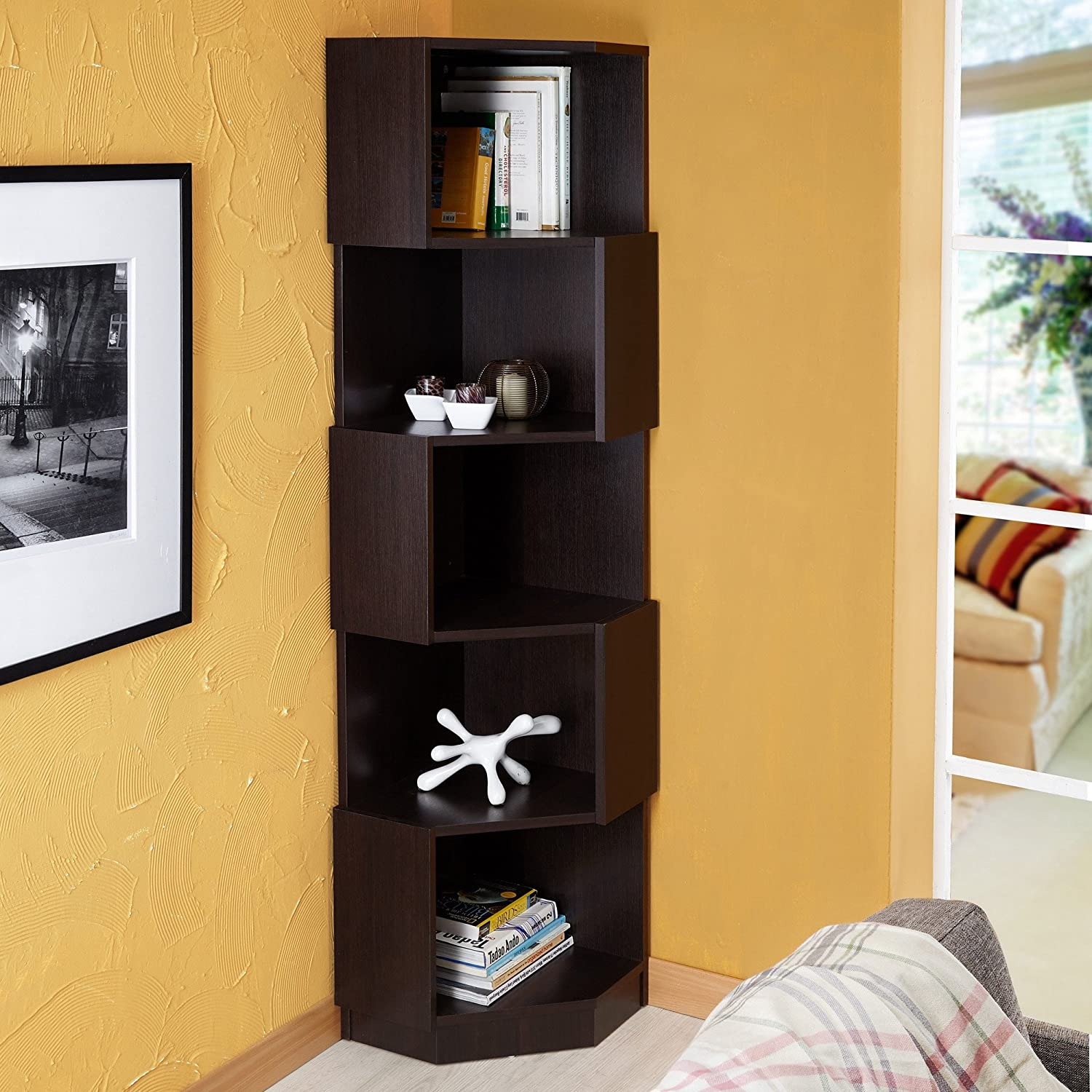 Amazon: Modern Dark Brown 5-shelf Zig Zag Bookcase, Space Saving Corner  Display Stand, Smart Storage Design, Perfect For Living Room & Home Library