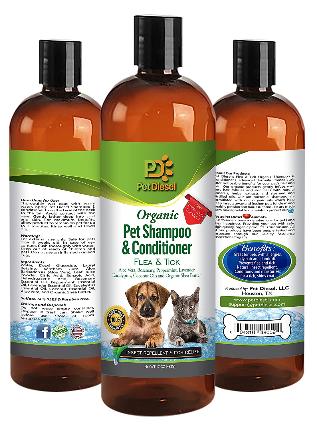 17 oz Organic Pet Shampoo & Conditioner: Neem Extract for Dry Skin, Itching, Hot Spot Relief, Moisturizing, Consistent Texture - For Shiny & Healthy Hair/Coat