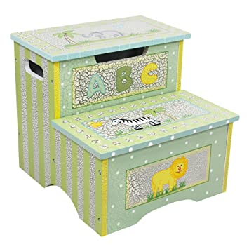 Teamson Kids - Safari Kids Wooden Crackled Step Stool with Storage  sc 1 st  Amazon.com : step stool storage - islam-shia.org