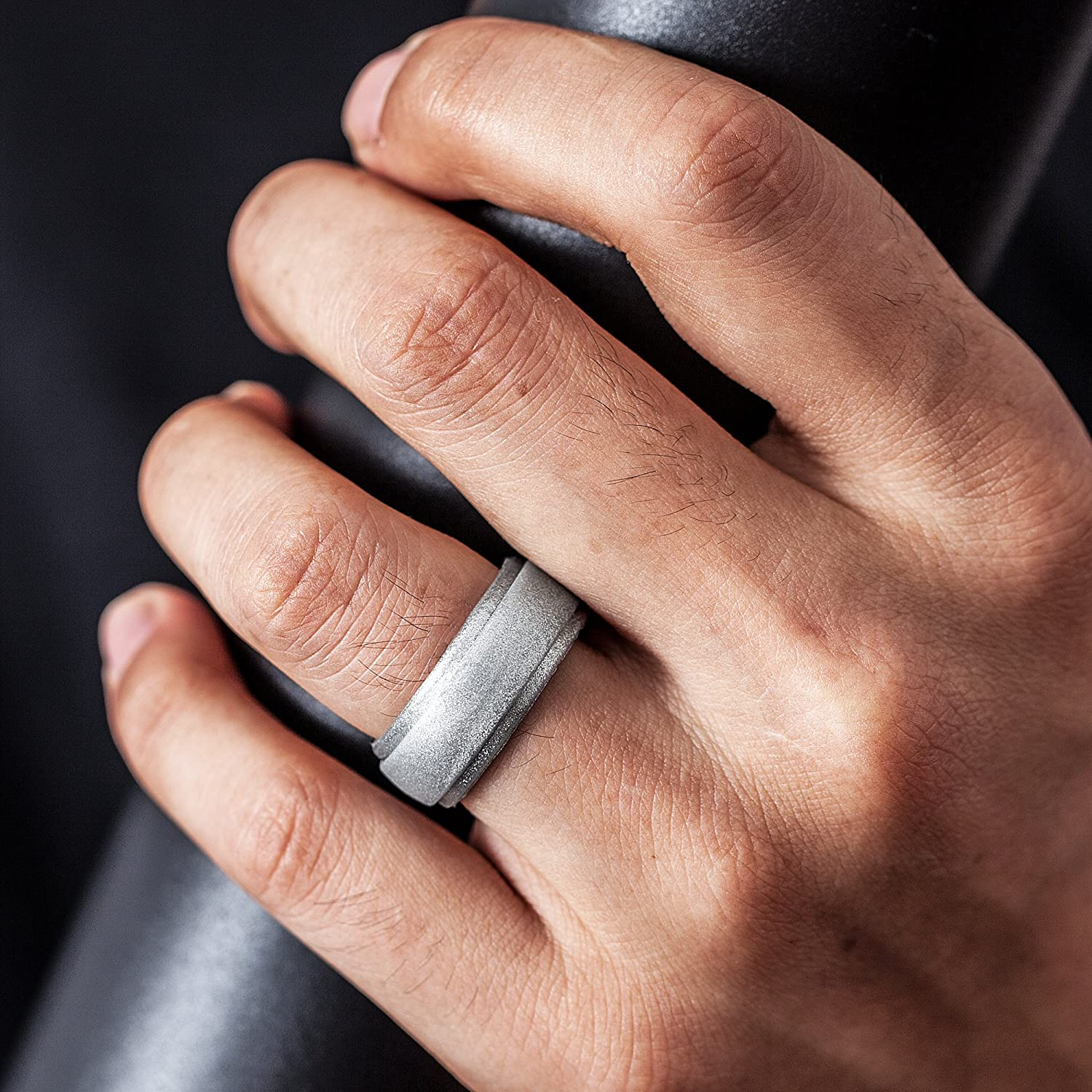 4 Rings 1 Ring Step Edge Rubber Wedding Bands ThunderFit Silicone Rings for Men