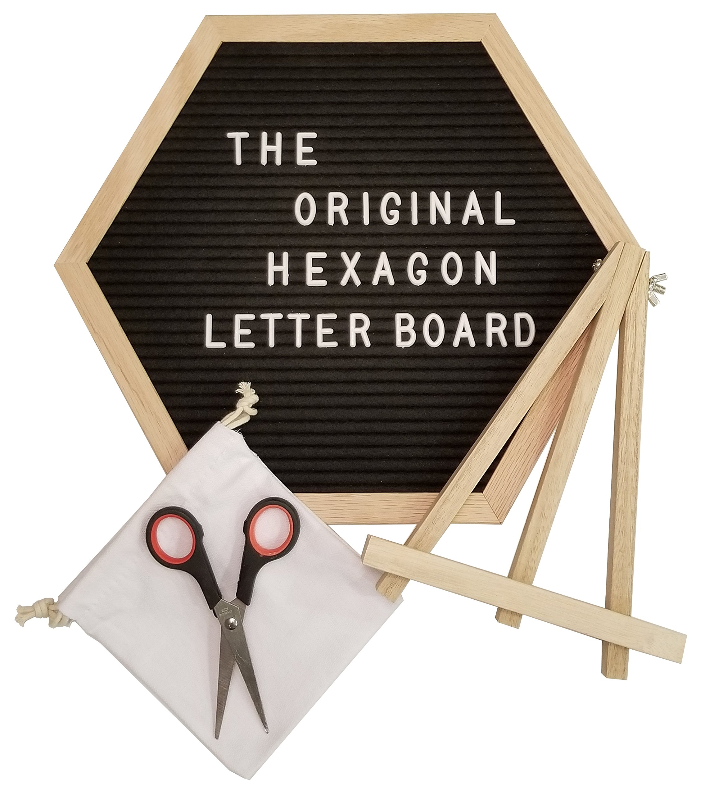 The Original Hexagon Felt Letter Board, 12 Inch x 14 Inch: Includes 360 Letters, Numbers & Characters and Free Wall Mounting Hook, Wood Easel Stand, Multi-Use Scissors, and Canvas Bag (Black)