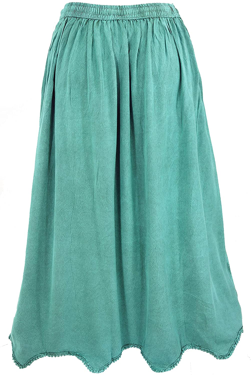 GURU-SHOP, Falda Hippie Boho Bordada, Falda Maxi India Aqua ...