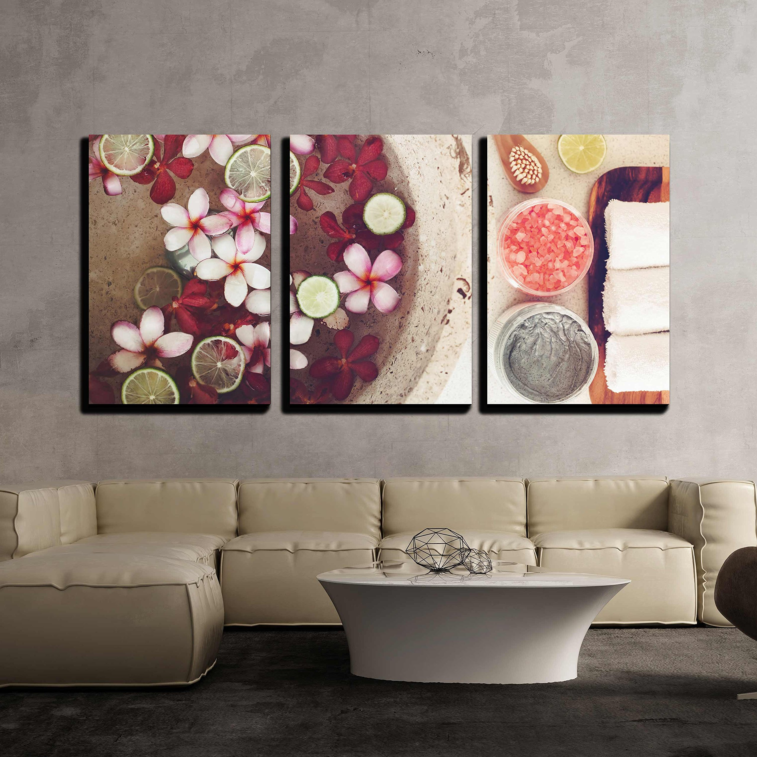 wall26 - 3 Piece Canvas Wall Art - Foot Bath in Bowl with Lime and Tropical Flowers, Spa Pedicure Treatment, Top View - Modern Home Decor Stretched and Framed Ready to Hang - 24''x36''x3 Panels