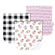 """Baby Burp Cloth Large 21''x10'' Size Premium Absorbent Triple Layer 3 Pack Gift Set for Girls """"Rosie Set"""" by Copper Pearl"""