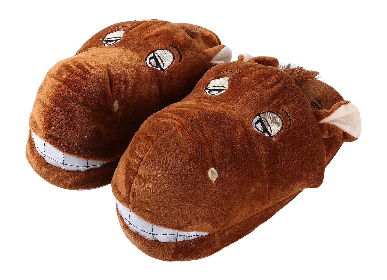 "Aerusi SEC20400L Men or Women's Adult Animal Plush Slippers, Brown Horse, 8-12"""