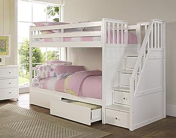 Amazon Com Ne Kids Barrett Stair Bunk Bed With Storage White