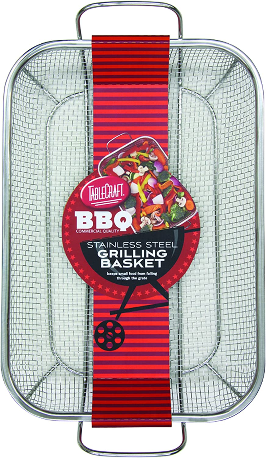 TableCraft BBQ Rectangular Grilling Basket with Handle, Silver, Medium