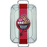 TableCraft BBQ Rectangular Grilling Basket with Handle, Silver, Medium
