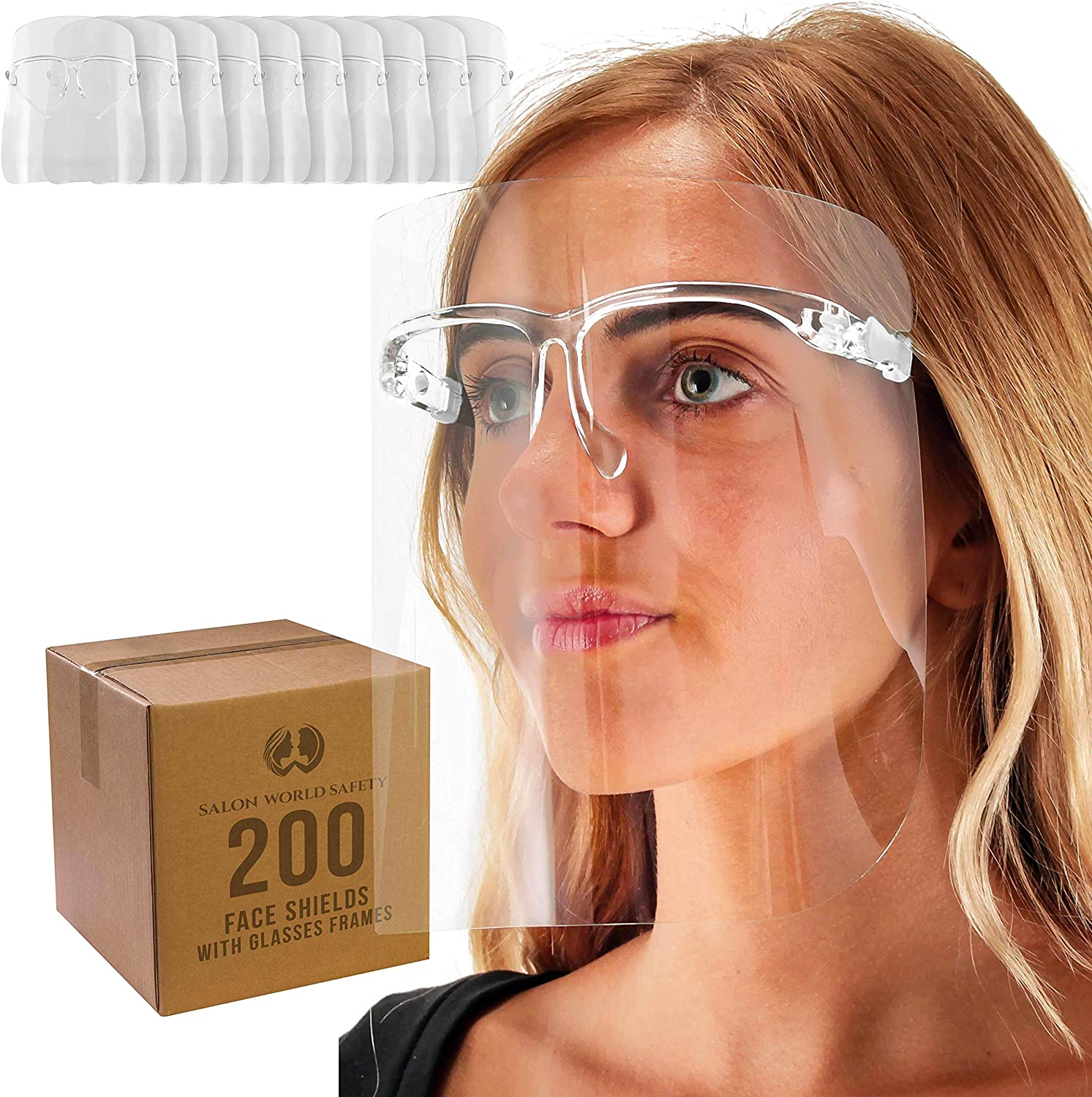 TCP Global Salon World Safety Face Shields with All Clear Glasses Frames (Case of 200) - Ultra Clear Protective Full Face Shields to Protect Eyes, Nose, Mouth - Anti-Fog PET Plastic, Goggles