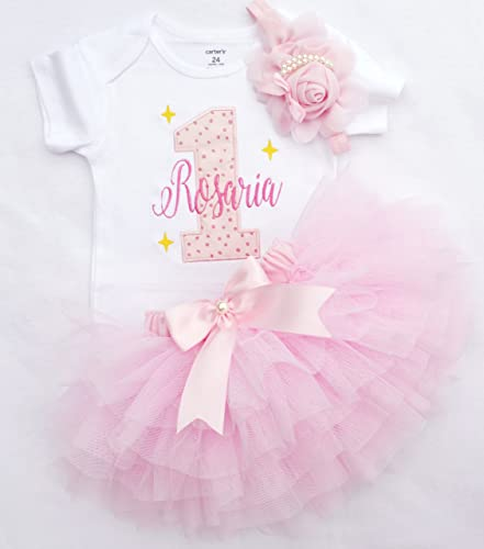 b38ae58dc706 Amazon.com: personalized first birthday outfit for baby girl in pink and  gold,customized 1st birthday shirt,pink ruffle tutu,cake smash outfit girl:  ...