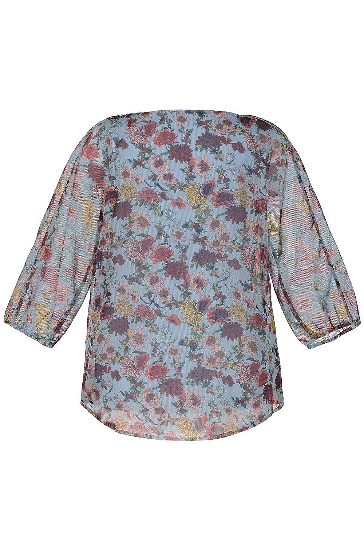 Ulla Popken Womens Plus Size Antique Floral Print Chiffon Layered Blouse 720797
