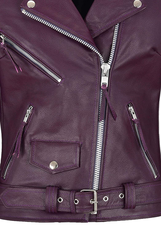/'CLASSIC BRANDO Ladies Red Biker Style Motorcycle Cruiser Hide Leather Jacket