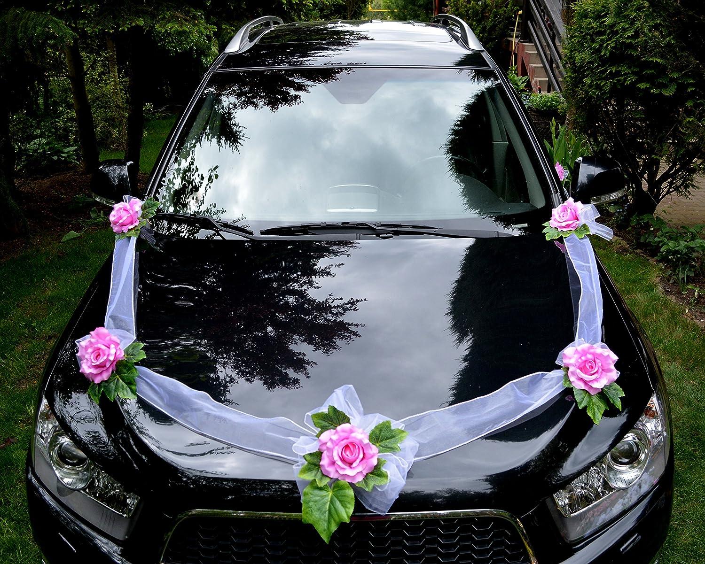 Amazon de autoschmuck autodeko hochzeit 5 rosen dekor verschieden farben komplett rosa basis