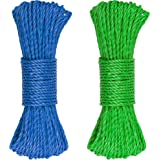 """SteadMax 150ft Multicolor Plastic 3/16"""" Rope for Sports & Outdoors, Hiking, Camping, Heavy Duty General Purpose Utility Cord, Ideal Clothesline, Anchoring Tents, Awing, Hammock (2 Pack, 75ft Each)"""