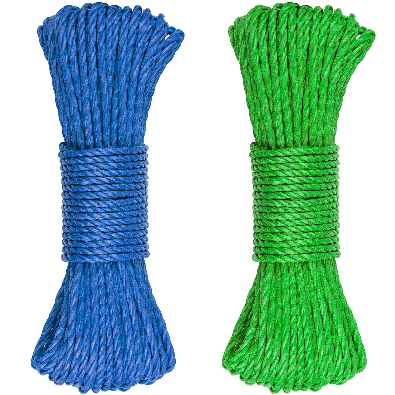 SteadMax 150フィート マルチカラー プラスチック 3/16インチ ロープ スポーツ&アウトドア ハイキング キャンプ 高耐久 汎用ユーティリティコード 理想的な物干しロープ アンカーテント オーイング ハンモック (2個パック 各75フィート) ブルー&グリーン