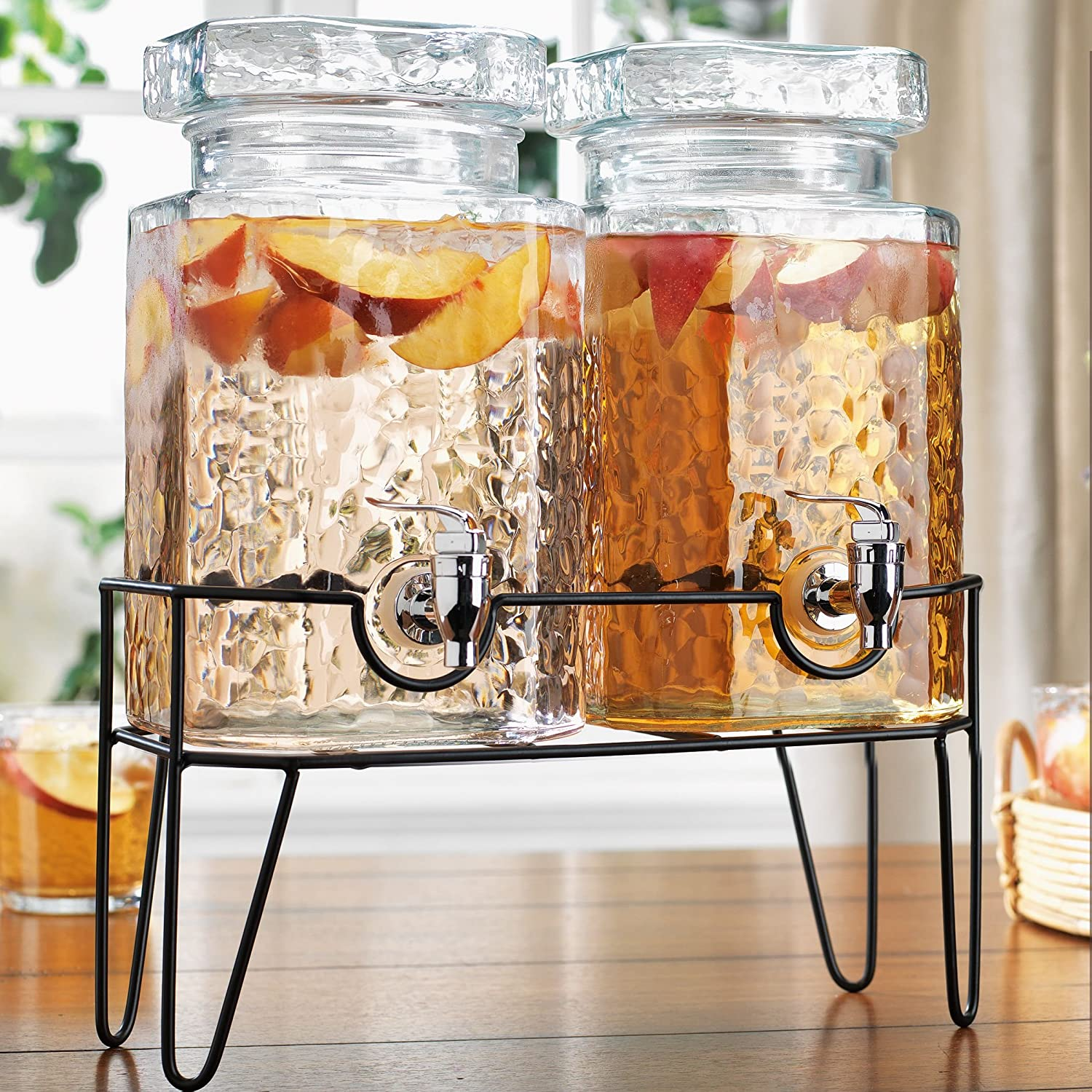 Home Essentials Double 1 Gallon Hammered Beverage Dispenser On Rack, claer glass-metal