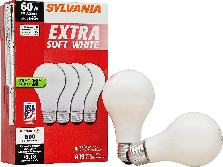 SYLVANIA Home Lighting 52620 Halogen Bulb A19 43W 2750K Extra Soft White Finish Medium Base Pack of 4