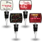 Father's Day Special Wine Bottle Stoppers with Funny & Positive Quotes - Wedding Favors or Gift for Friends - Set of 4 Decorative Reusable Stopper - Beverage Wine Bar Accessories - Stainless Steel