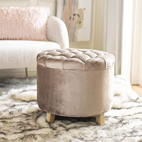 Astounding Safavieh Hudson Collection Amelia Tufted Storage Ottoman Mink Brown Gmtry Best Dining Table And Chair Ideas Images Gmtryco