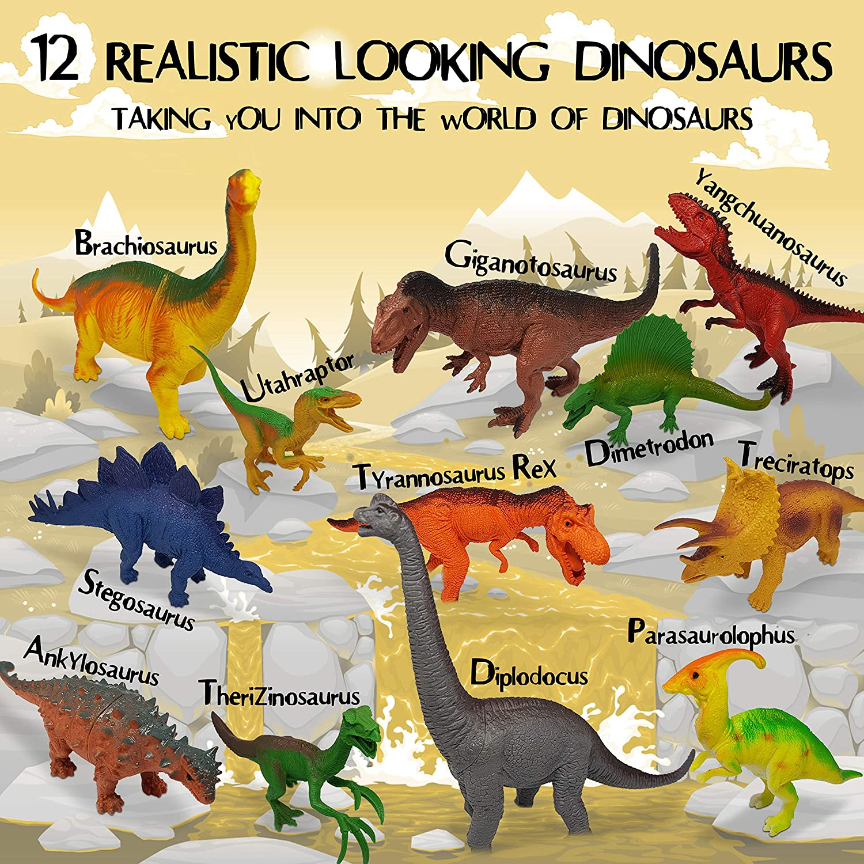 12pc Plastic Dinosaurs Figures 6 5 4 3 Year Olds Boys KinderBerries Large Dinosaur Toys Toddlers Ankylosaurus Toy Figurines Gifts Set Stegosaurus Triceratops T Rex Brachiosaurus Bonus Dino Book for Kids