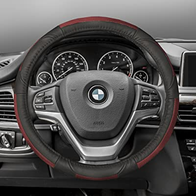 FH Group FH2002RED Steering Wheel Cover (Deluxe Full Grain Authentic Leather Red): Automotive