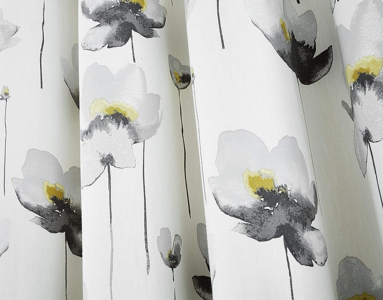 Fusion Kiera Aquarelle Fleur Coquelicot Entièrement Doublé Oeillet Rideaux Gris