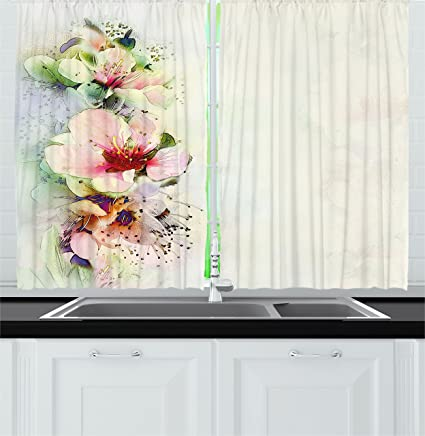Ambesonne Shabby Chic Kitchen Curtains, Spring Season Floral Flower Details  with Leaves Abstract Backdrop, Window Drapes 2 Panels Set for Kitchen ...