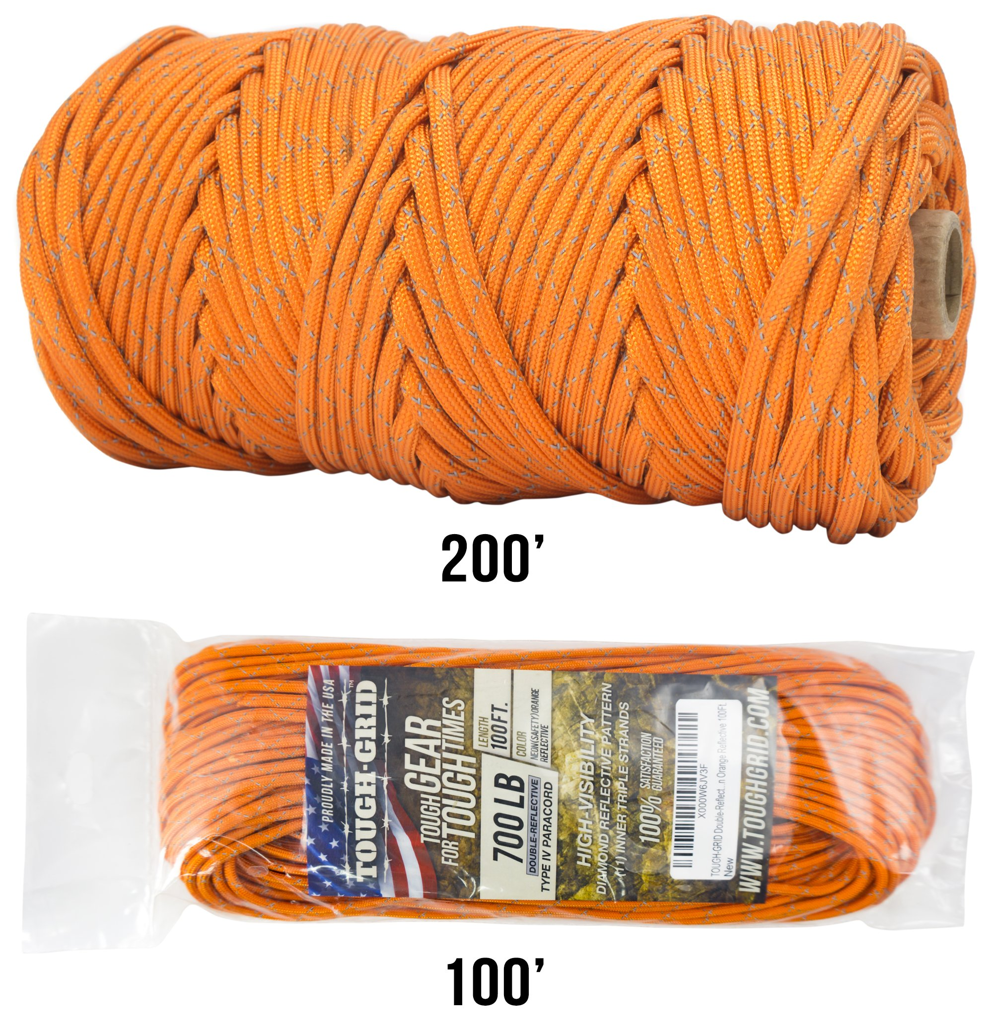 TOUGH-GRID New 700lb Double-Reflective Paracord/Parachute Cord - 2 Vibrant Retro-Reflective Strands for The Ultimate High-Visibility Cord - 100% Nylon - Made in USA - 100Ft. Neon Orange Reflective by TOUGH-GRID (Image #1)