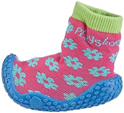 Playshoes Aqua-Socke, Badeschuhe Blume - Escarpines para niñas, color pink (original 900), talla 18/19