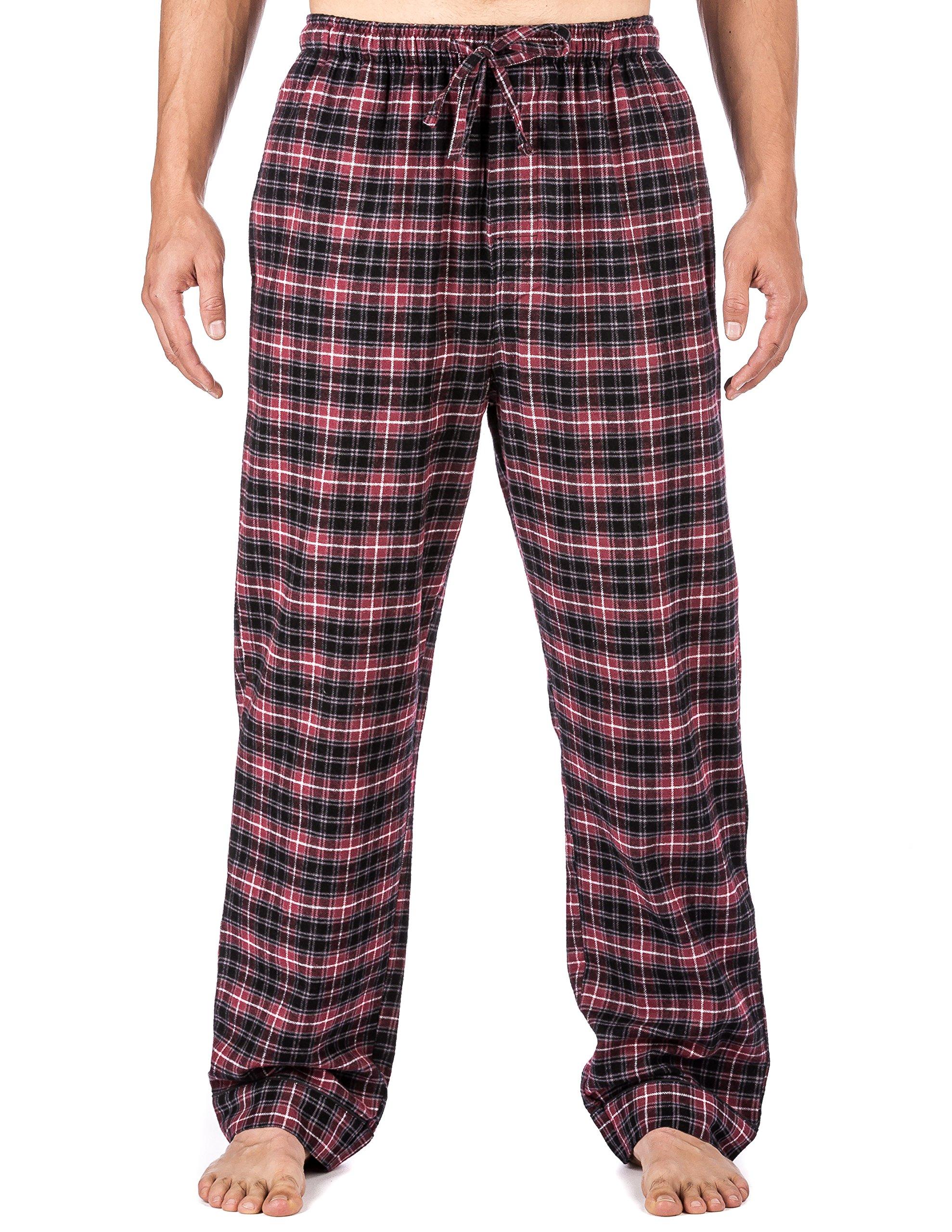 Noble Mount Mens Premium Flannel Lounge Pants - Plaid Burgundy/Grey - Medium