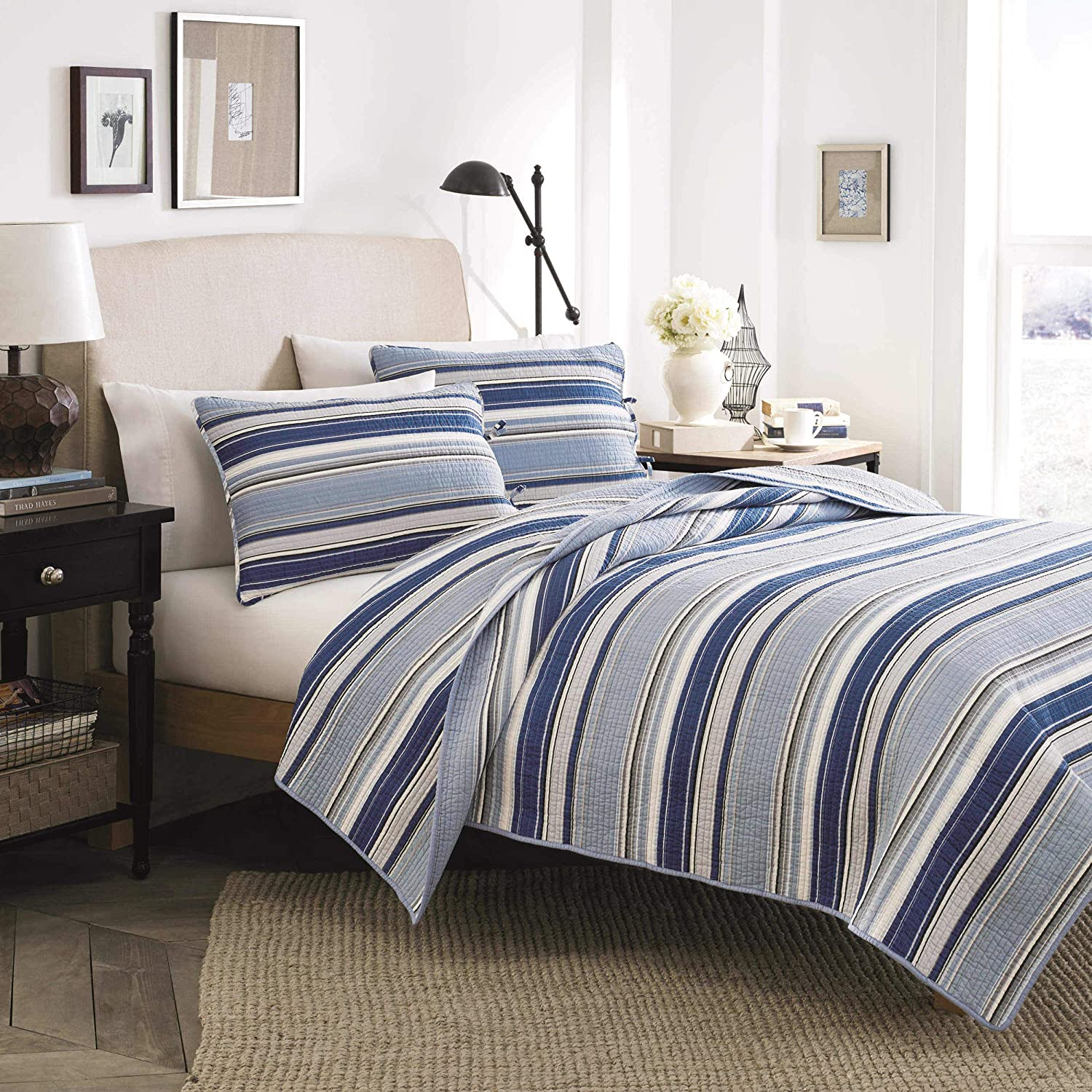 Stone Cottage Fresno Cotton Quilt Set, King, Blue