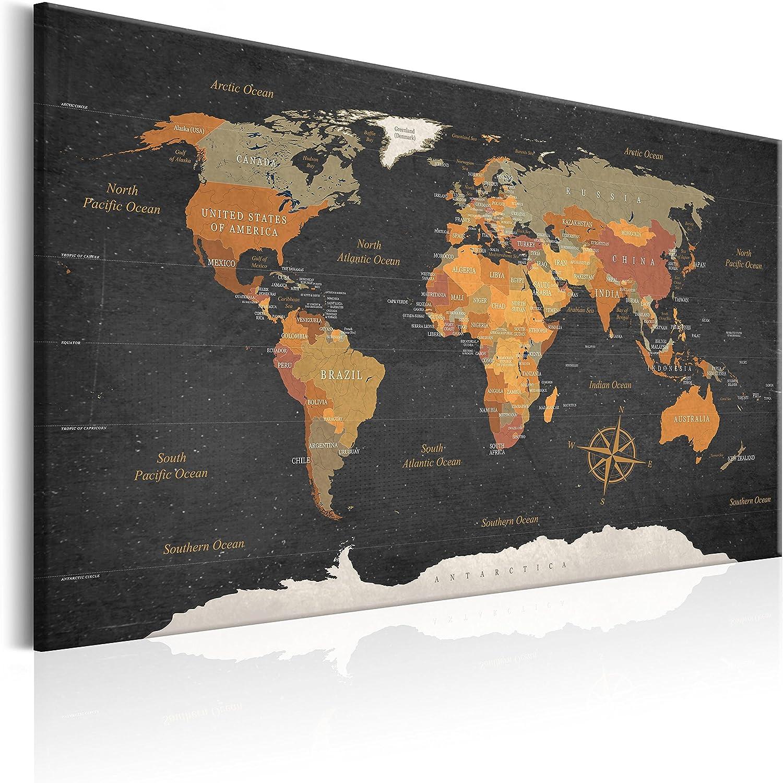 murando Carte du Monde 90x60 cm Tableau en Li/ège /& Tableau sur Toile Intissee XXL Impression Tableaux daffichage D/écoration Photo Image Artistique Photographie Graphique Memoboard k-C-0048-p-c