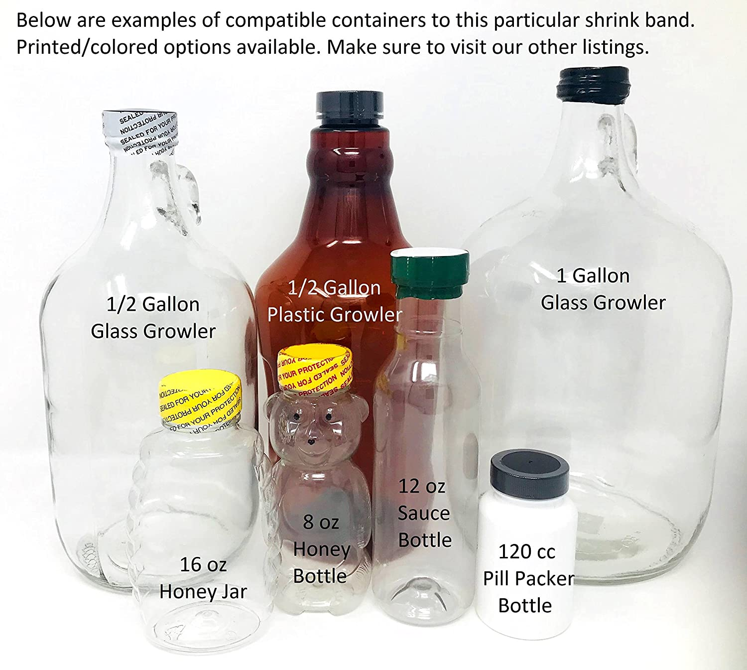 and More. Honey Bottles 66 x 25 mm Clear Perforated Shrink Band for Growler Bottles Gallon Jugs Compatible Diameter Range: 32 mm - 38 mm Pharmaceutical Bottles - Bundle of 125