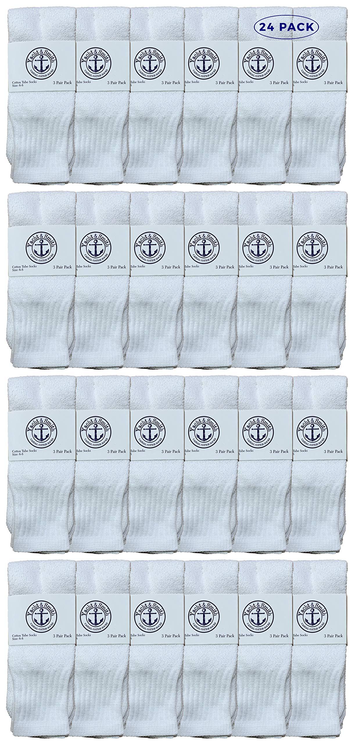 Yacht & Smith Wholesale Bulk Kids Tube Socks, Cotton Sport Athletic Tube Socks - 6-8 - White - 24 Packs by YACHT & SMITH