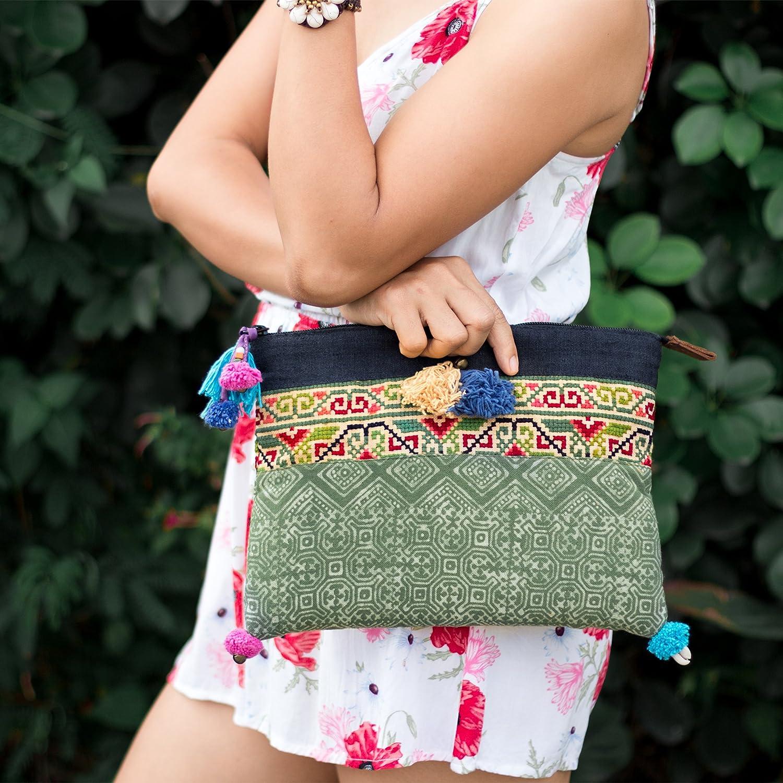 Changnoi Unique Boho Clutch Handmade Hmong Batik Fabric Multi Tassels Fair Trade Thailand in Green