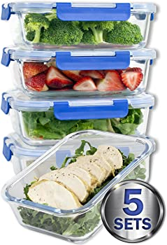 Misc Home Glass Meal Prep Containers 5-Piece Set