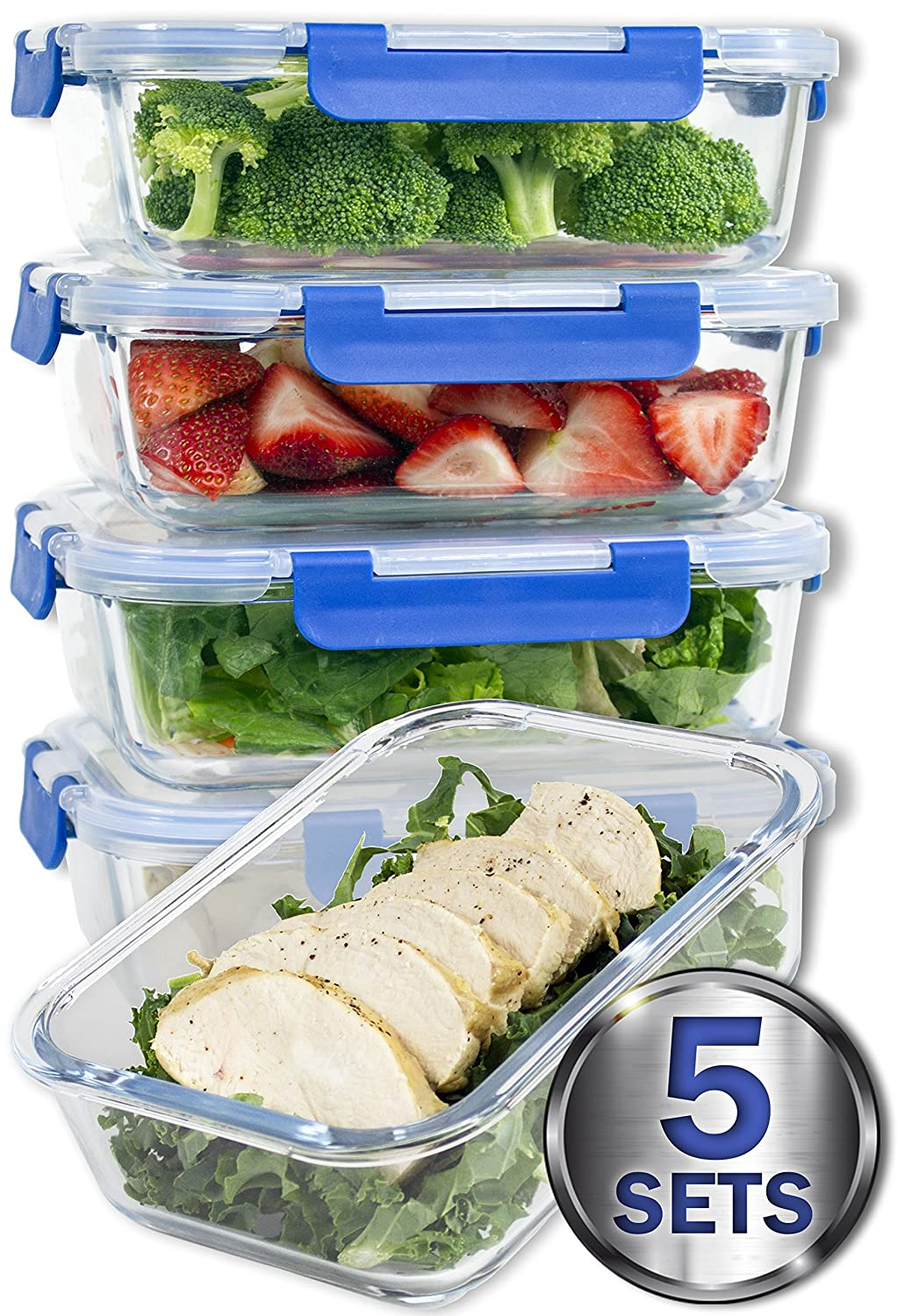 [LARGER PREMIUM 5 SET] 36 Oz. Glass Meal Prep Containers with Lifetime Lasting Snap Locking Lids Glass Food Containers BPA-Free, Microwave, Oven, Freezer and Dishwasher Safe (4.5 Cups, 36 Oz.) Misc Home